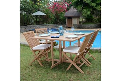 Salon de jardin en teck ecograde papeete, table pliante carrée 120 x 120 cm  + 4 chaises java