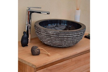 Vasque de salle de bain Vasque de salle de bain à poser en marbre noir, 7a8cb218e5e9