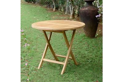 Table de jardin en teck pliable ø 90 cm - adomée