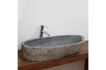 Vasque de salle de bain Vasque de salle de bain à poser en pierre de rivière b33f822c1b59