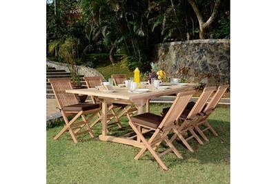 Salon de jardin en teck ecograde caraibes, table extensible 1,8 à 2,4 m + 6  chaises java