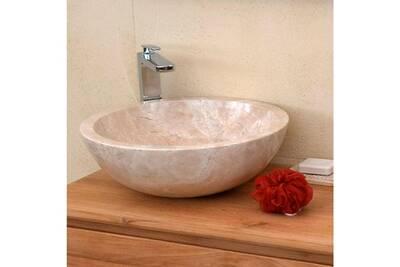 Vasque à poser en marbre crème, lizéa