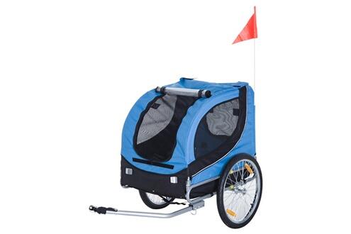 Accessoires Vélo Remorque velo pour chien animaux avec 8 reflecteurs drapeau bleu noir HOMCOM