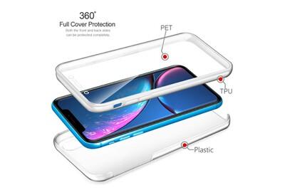 Vshop® coque iphone xr, iphone xr transparent housse silicone tpu gel et pc rigide 360 degres protection anti choc full body etui case pour apple ...