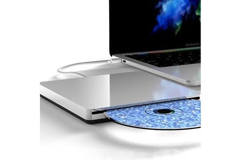 Shot Case Lecteur/graveur cd-dvd-rw type-c pour macbook pro apple portable externe (argent)