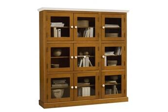 Bibliothèque Bibliothèque pin miel 9 portes vitrées dessus blanc Beaux  Meubles Pas Chers 5b26d7864557