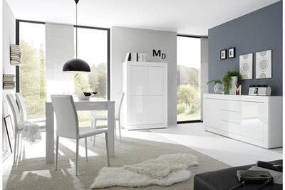 Salle à manger complète blanc laqué design ariel