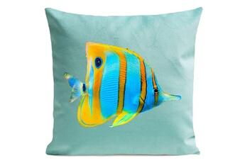 Linge de lit bébé Artpilo Coussin velours carré imprimé poissons butterfly fish - 40 x 40 cm