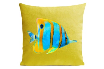 Linge de lit bébé Artpilo Coussin velours carré imprimé poissons butterfly fish - 100 x 100 cm