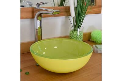 Vasque ronde en verre vert pomme rany