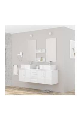 Ensemble salle de bain aucune diva ensemble salle de bain double vasque avec miroir l 150 cm - Miroir salle de bain 150 ...
