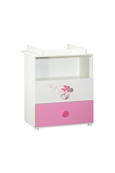 Table à langer Baby Price Babyprice commode a langer minnie 2 tiroirs - 1 niche