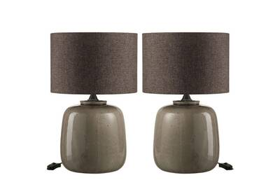 Céramique Chevet Anais Lampes Duo Taupe De Tc3lKF1J