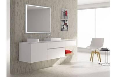 Meuble de salle de bain 120cm bloc 19 - ensemble suspendu blanc