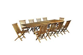 Ensemble Table Et Chaise De Jardin Salon En Teck Huile 12 Places Avec Desserte