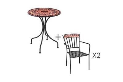 Ensemble table + 2 chaises en verre et métal rouge - dyno