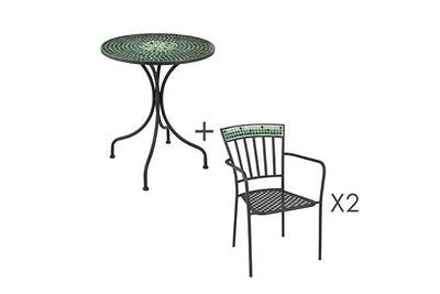 Salon de jardin Maisonetstyles Ensemble table + 2 chaises en ...