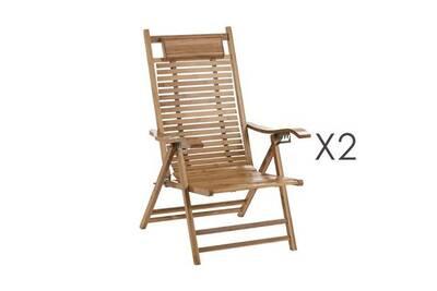 Lot de 2 chaises longues pliantes en bambou naturel