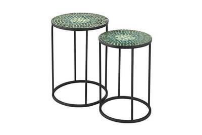 Salon de jardin Maisonetstyles Lot de 2 tables d\'appoint en verre et ...