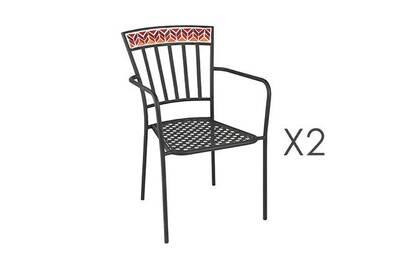 Salon de jardin Maisonetstyles Lot de 2 chaises en verre et métal ...