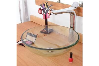 Vasque de salle de bain Evidence Vasque ronde en verre transparent ...