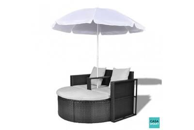 Canapé rond noir 2 places avec parasol inclus cs407351