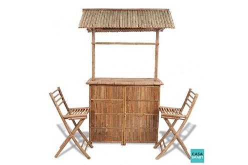 Bar d\'extérieur en bambou 2 tabourets inclus cs415001