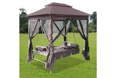 Kiosque à balancelle en acier et tissu marron 220x160x240cm cs432401