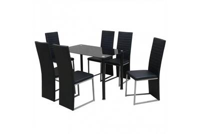 Ensemble table à manger en acier et verre noir + 6 chaises en cuir  synthétique noir cs2429261