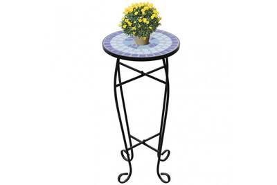 Table d\'appoint pour plantes en mosaïque bleu et blanc cs411281