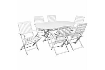 Table à manger avec six chaises d\'extérieur blanc bois d'acacia cs417911