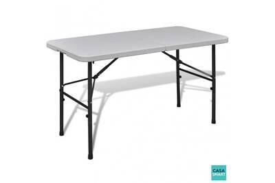 Table d\'extérieur blanche rectangulaire 122 cm cs415681