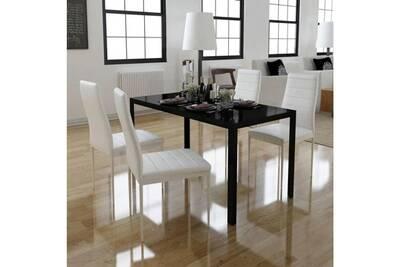 Ensemble table à manger en verre noir + 4 chaises en cuir synthétique blanc  cs2429891