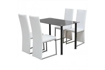 Ensemble table à manger en acier et verre noir + 4 chaises en cuir  synthétique blanc cs2429251