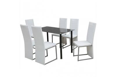 Ensemble table à manger en acier et verre noir + 6 chaises en cuir  synthétique blanc cs2429271