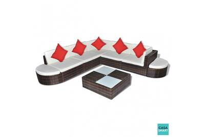 Ensemble salon de jardin chic en polyrotin marron cs412661
