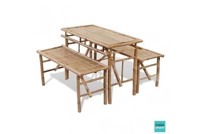 Table de pique nique bambou 2 bancs inclus cs415021