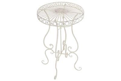 Table de jardin ronde en fer coloris crème antique - 100 x 64 x 64 cm  -pegane-