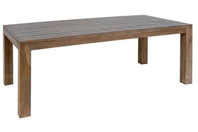Table rectangulaire de jardin en bois teck sombre - dim : h 78 x l 200 x p  100 cm
