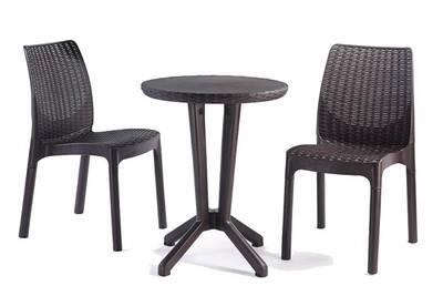Salon de jardin ou de balcon en résine de 2 chaises + 1 table ronde coloris  gris anthracite -pegane-