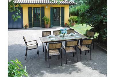 Ensemble de jardin table + 8 chaises en teck/alu- 150/210 x 90 cm - pegane -