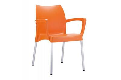 Chaise de jardin empilable en plastique, orange -pegane
