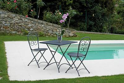 Ensemble Table Et Chaise De Jardin En Fer Forgé