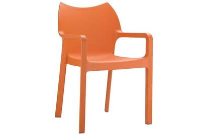 Chaise de jardin empilable en plastique, coloris : orange, dim : h84 x p53  x l57 cm -pegane-