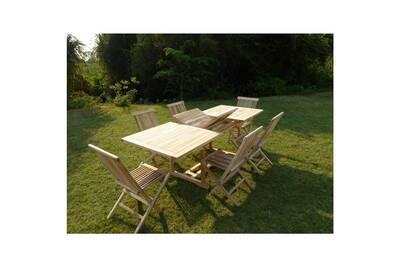 Ensemble table de jardin rectangulaire en teck extensible 170-230x90 + 6  chaises pliantes en teck surakarta