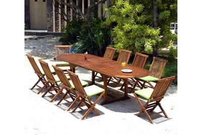 Salon de jardin 10 chaises et table 200-300 cm en teck huilé