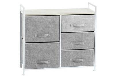 Meuble de rangement 5 tiroirs coloris gris clair - dim : l.83 x p.29 x h.77  cm -pegane