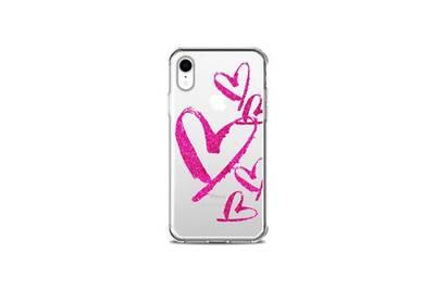coque iphone xr transparente coeur