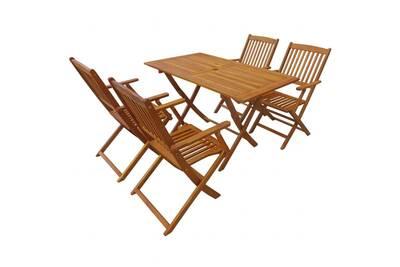 Mobilier à dîner d\'extérieur pliable 5 pcs bois d\'acacia solide