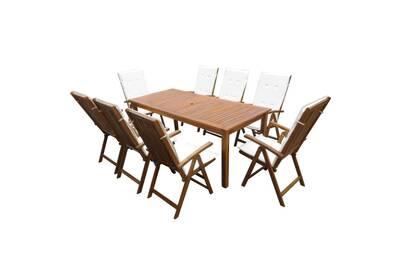 Mobilier à dîner d\'extérieur 9 pcs et coussins acacia solide
